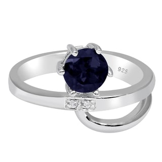 Orchid Jewelry 925 Sterling Silver 1 Carat Sapphire and Diamond Accent Engagement Ring