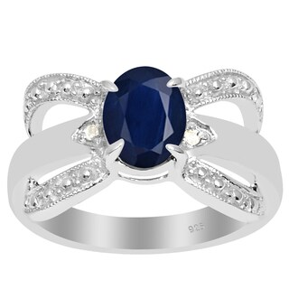 Orchid Jewelry 925 Sterling Silver 1 1/2 Carat Sapphire and Diamond Accent Anniversary Ring