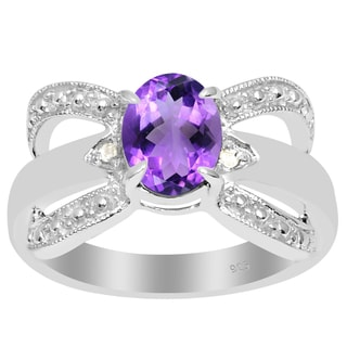 Orchid Jewelry 925 Sterling Silver 1 1/8 Carat Amethyst and Diamond Accent Anniversary Ring