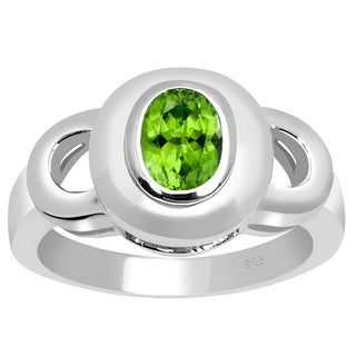 Orchid Jewelry 925 Sterling Silver 0.9 Carat Peridot Birthstone Ring