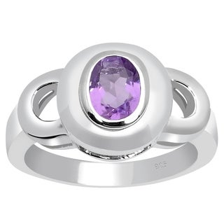 Orchid Jewelry 925 Sterling Silver 0.7 Carat Amethyst Birthstone Ring