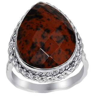 Orchid Jewelry 925 Sterling Silver 8 2/3 Carat Mahogany Obsidian Pear Shape Ring