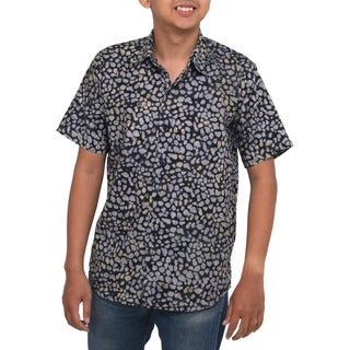 Men's Handmade Cotton 'Borneo Slate' Batik Shirt (Indonesia)