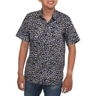 Men's Handcrafted Cotton 'Borneo Slate' Batik Shirt (Indonesia)