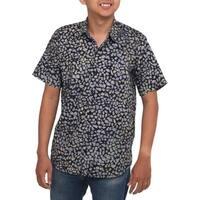 Handmade Men's Cotton 'Borneo Slate' Batik Shirt (Indonesia)