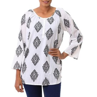 Handcrafted Cotton 'Diamond Leaves' Tunic (India)
