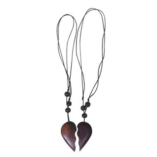 Set of 2 Handmade Sono Wood 'My Heart is Yours' Necklaces (Indonesia)