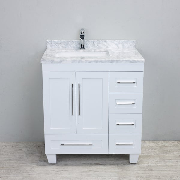 Shop Eviva Loon Transitional White 30-inch Bathroom Vanity With White Carrera Marble Countertop