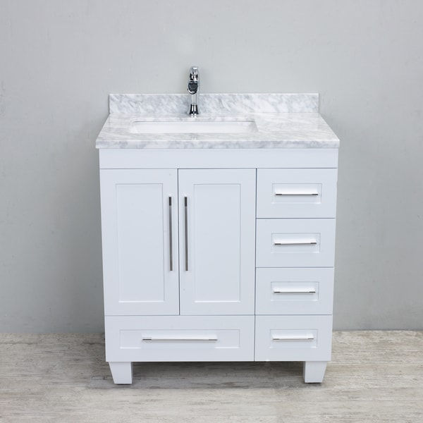 Beau Eviva Loon Transitional White 30 Inch Bathroom Vanity With White Carrera  Marble Countertop