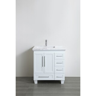 Eviva Loon Transitional White 30-inch Bathroom Vanity with White Carrera Marble Countertop