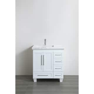Eviva Loon Transitional White 30 Inch Bathroom Vanity With Carrera Marble Countertop