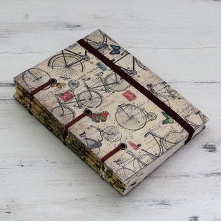 Handcrafted Handmade Paper 'Vintage Bike Journeys' Journal (India)