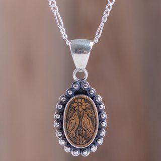 Handmade Sterling Silver Mate Gourd 'Lovebird Bower' Necklace (Peru)