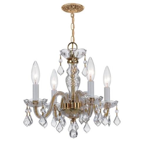 Crystorama Traditional Crystal Collection 4-light Polished Brass/Swarovski Spectra Crystal Mini Chandelier - Polished Brass