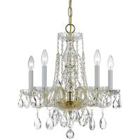 Crystorama Traditional Crystal Collection 5-light Polished Brass/Swarovski Elements Spectra Crystal Mini Chan