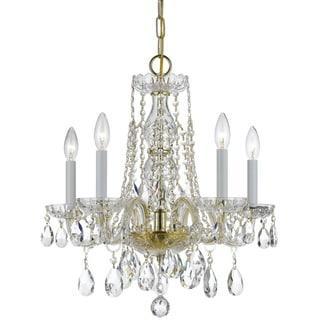 Crystorama Traditional Crystal Collection 5-light Polished Brass/Swarovski Strass Crystal Mini Chandelier