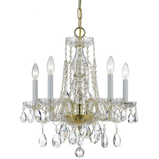 Crystorama Traditional Crystal Collection 5-light Polished Brass/Crystal Mini Chandelier