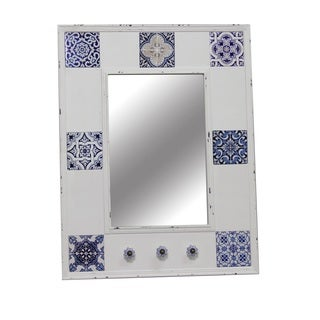 Jeco White and Blue Wood-framed Antique Wall Mirror