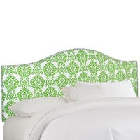 Skyline Furniture Nailhead Trim Green Damask Upholstered Headboard