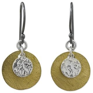 Handcrafted Sterling Silver Gold Overlay 'Golden Moon Shadow' Earrings (Thailand)