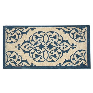 First Impression Moricio Navy/Beige Coir 24 x 48 Doormat
