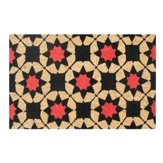 A1HC First Impression Engineered Anti-shred Treated Payton Geometric Fade-resistant Bleached Coir Doormat (1'6 x 2'6)