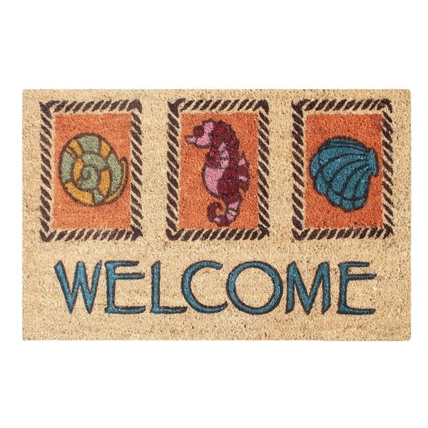 A1HC First Impression Multicolored Coir Engineered Anti Shred Treated Welcome Doormat (1'6 x 2'6)