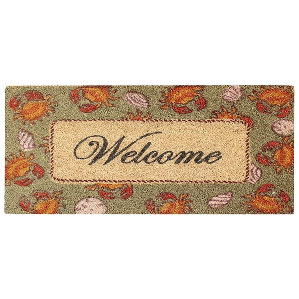 Multicolored Bleached Anti Shread Treated Coir/ PVC Welcome Doormat (1'6 x 2'6)