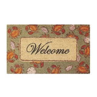 "Multicolored Bleached Anti Shread Treated Coir/ PVC Welcome Doormat (18"" X 30"")"