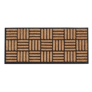 A1HC First Impression Kolby Rubber and Coir Striped Hand Molded Doormat (1'6 x 4')