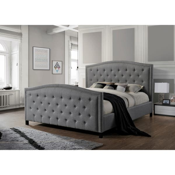more photos 9d35a 886f0 Shop LuXeo Camden Tufted Grey Upholstered King-Size Bed ...