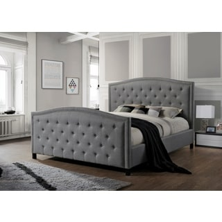 LuXeo Camden Tufted Grey Upholstered King-Size Bed