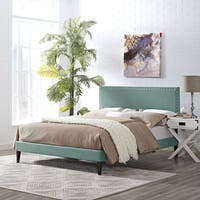 Phoebe Fabric Platform Bed with Squared Tapered Legs in Laguna