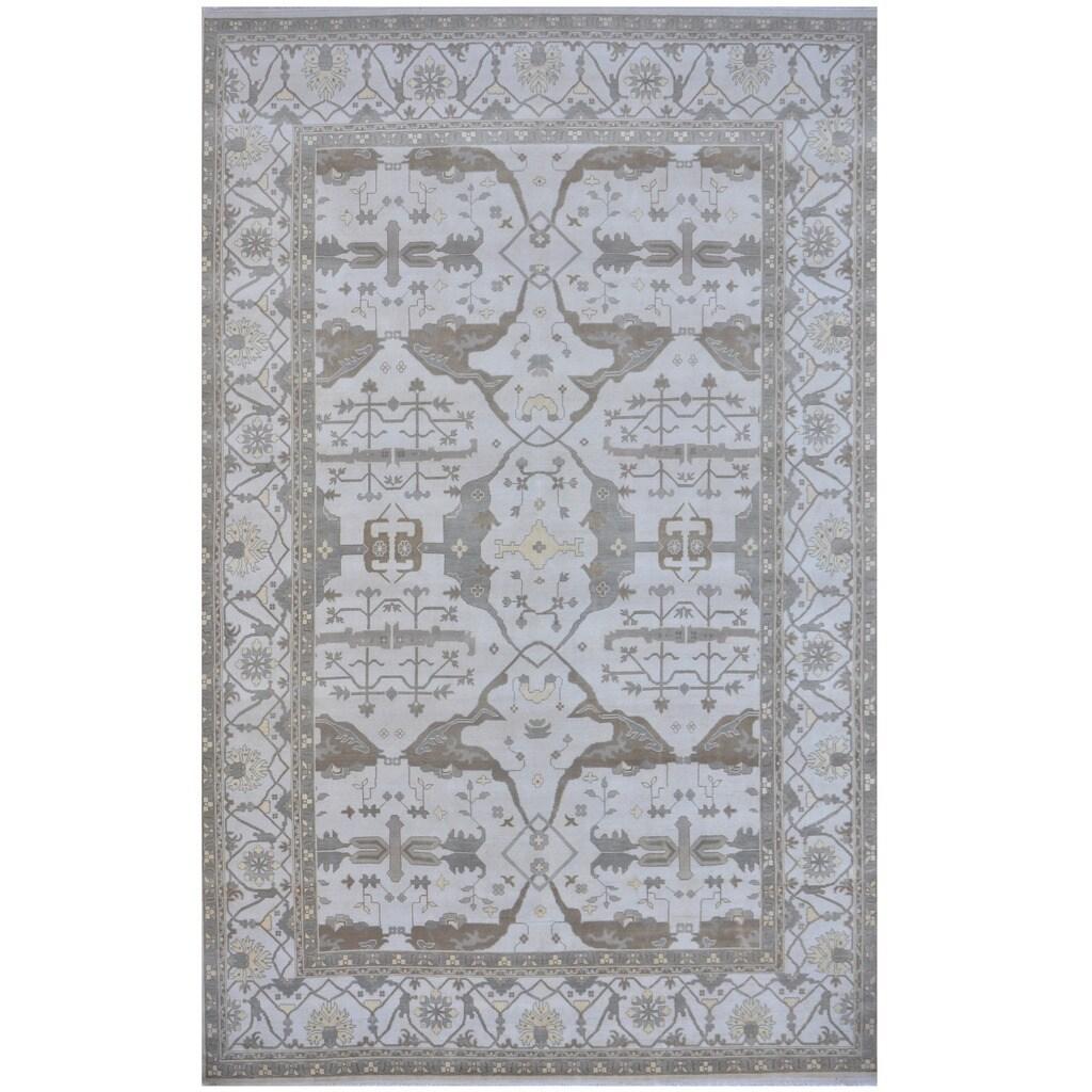 Handmade Herat Oriental Indo Tribal Oushak Wool Rug (India) - 123 x 177 (Grey - 123 x 177)
