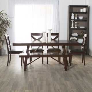 6-Piece Solid Wood Trestle Style Dining Set - Espresso