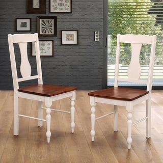 Solid Wood Turned Leg Dining Chairs, Set of 2 - Brown/White|https://ak1.ostkcdn.com/images/products/13925503/P20558515.jpg?impolicy=medium