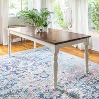Solid Wood Brown/ White 60-inch Turned Leg Dining Table - Multi