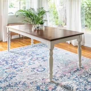 Solid Wood Brown/ White 60-inch Turned Leg Dining Table - Multi - N/A