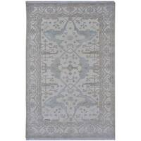 Handmade Herat Oriental Indo Tribal Oushak Wool Rug (India) - 6' x 9'2