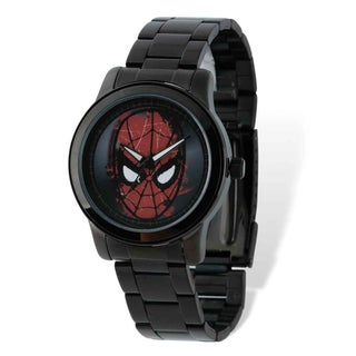 Marvel Stainless Steel Men's Spiderman Face Black-plated Watch