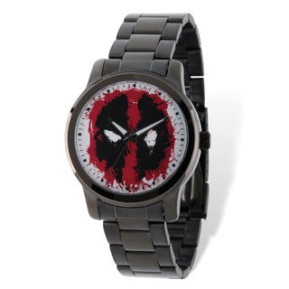 Marvel Stainless Steel Men's Deadpool Black Band Watch