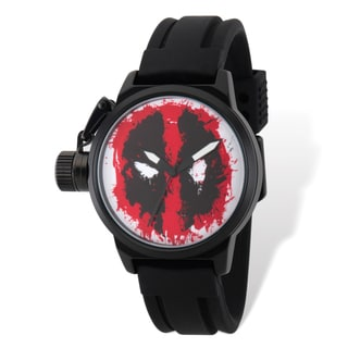 Marvel Stainless Steel Men's Deadpool Black Band Left Hand Watch