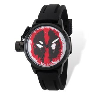 Marvel Stainless Steel Men's Deadpool Black Band Left Hand Watch