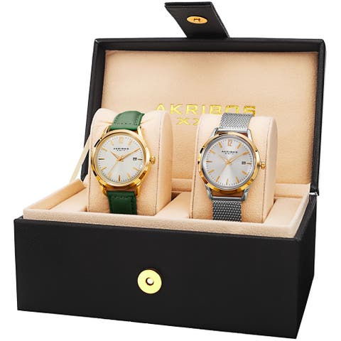 Akribos XXIV Women's Quartz Green Leather Strap & Stainless Steel Bracelet Watch Set