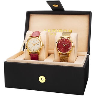Akribos XXIV Women's Quartz Red Leather Strap & Stainless Steel Bracelet Watch Set with FREE GIFT