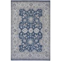 Handmade Herat Oriental Indo Tribal Oushak Wool Rug (India) - 6'3 x 9'4