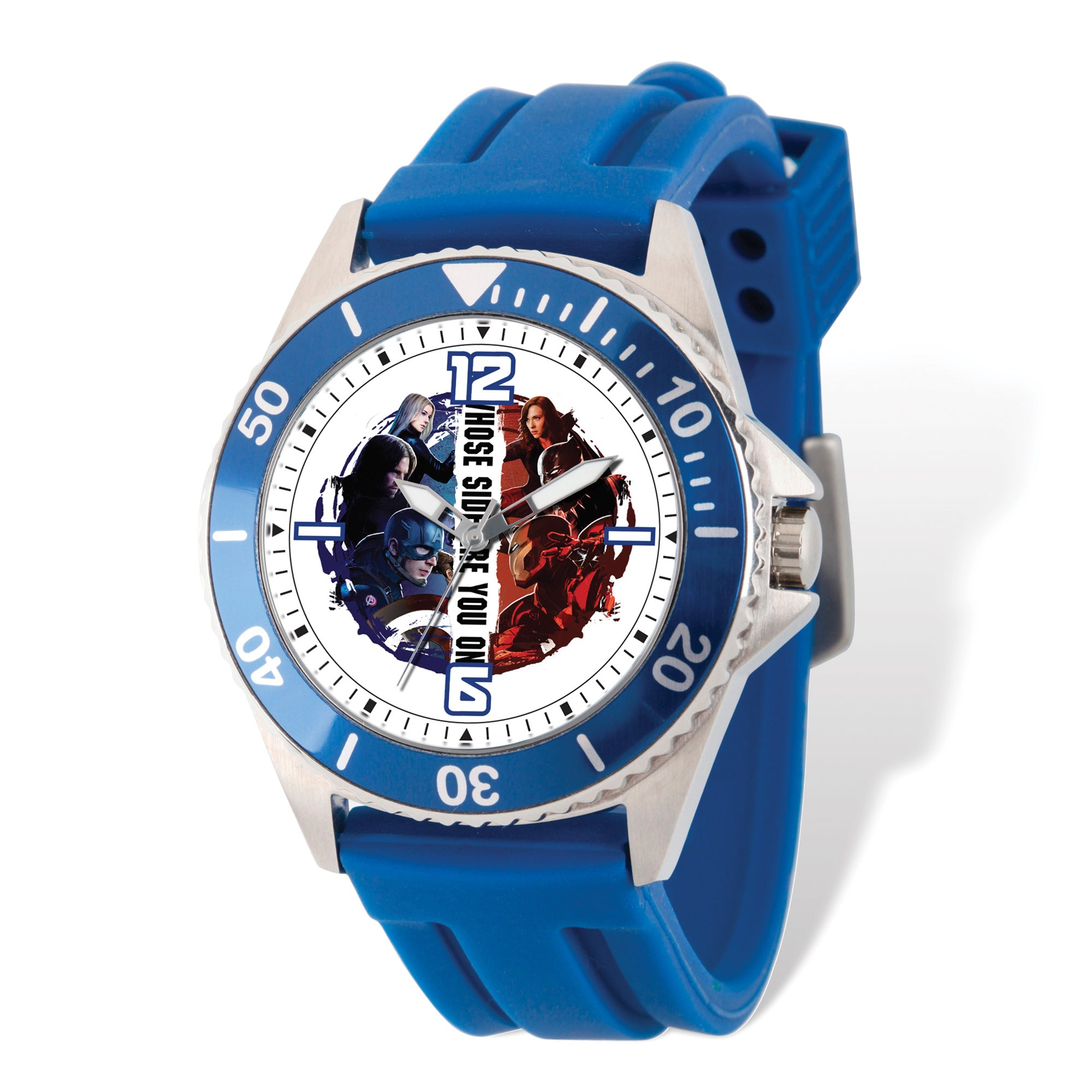 Marvel Stainless Steel Men's Civil War Blue Band Watch (C...