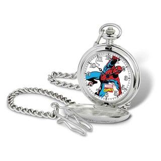 Marvel Stainless Steel Men's Spiderman Pocket Watch With Chain