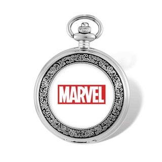 Marvel Stainless Steel Men's Spiderman Face Pocket Watch With Chain