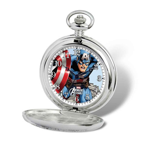 Marvel Stainless Steel Men's Captain America Pocket Watch With Chain